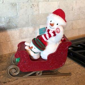 NWT Hallmark Twinkling Sleigh Ride Snowman Plush
